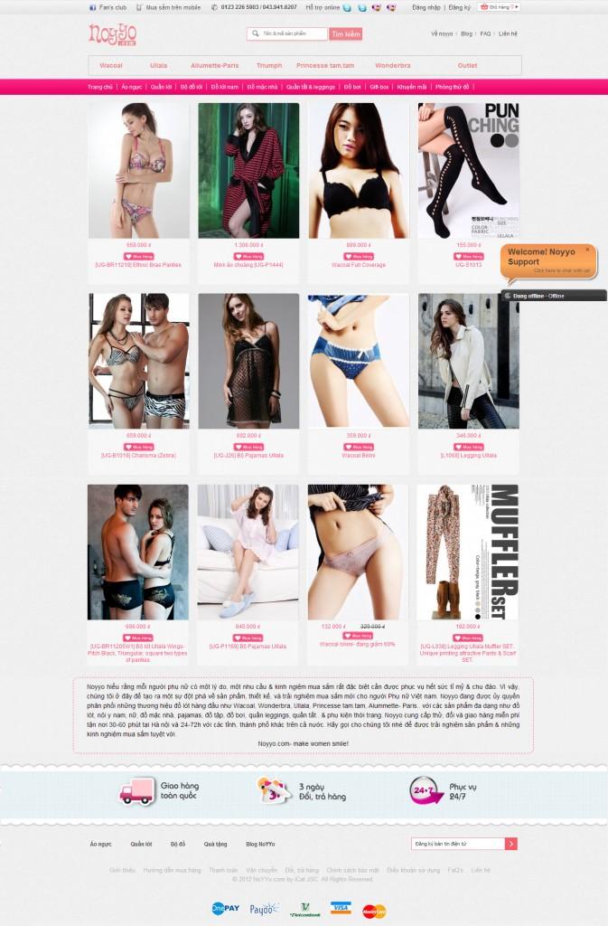 Noyyo Women Lingerie website